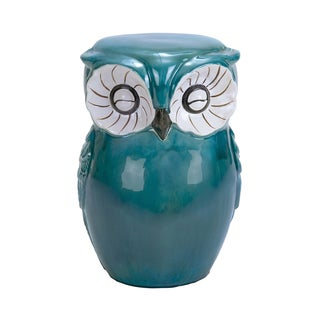 Green Ceramic Owl Stool