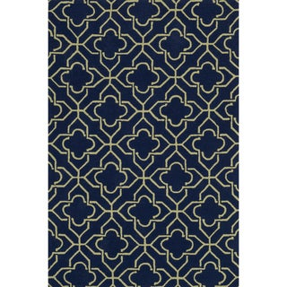 Hand-hooked Charlotte Navy/ Green Rug (7'6 x 9'6)