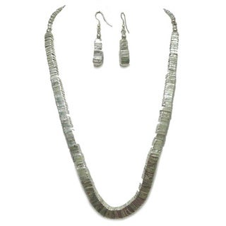 Tiara Global Handmade Silver Lining Beaded Necklace and Earring Set
