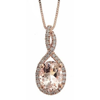 Anika and August D'yach 10k Rose Gold 1/5ct TDW Diamond and Round-cut Morganite Pendant (G-H, I1-I2)