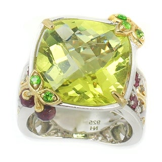 Michael Valitutti Check Top Green Amethyst 'Cherry' Accent Ring