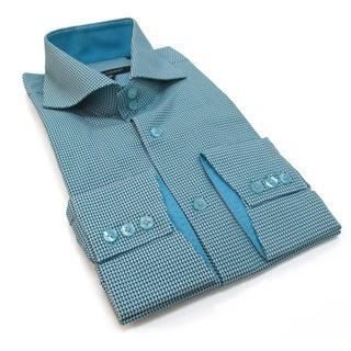 Bogosse Men's Blue Printed Long Sleeve Button Down Shirt