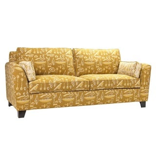 French Heritage Deauville Upholstered Yellow/ Gold Sofa