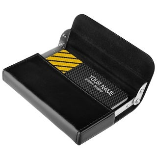 Zodaca Professional Black Leather Pocket Business Card Holder Case