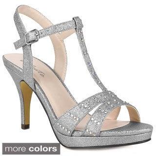 Celeste Women's 'Sanyo-08' Glittery T-strap Dress Sandals