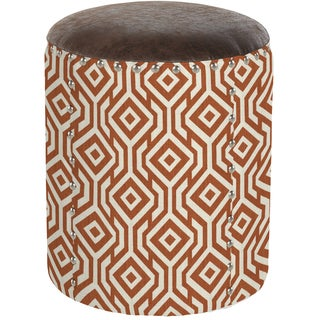 angelo:HOME Pearse Lorin Square Autumn Orange Drum Ottoman