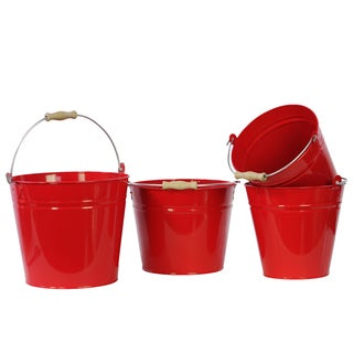 Red Metal Bucket with Wood Handle, Set of Four