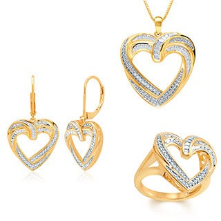 Gold Over Brass 1/10ct TDW Diamond Heart Pendant 3-piece Set
