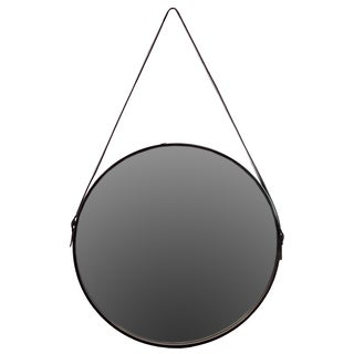 Black Metal Round Mirror with Leather Belt Hanger