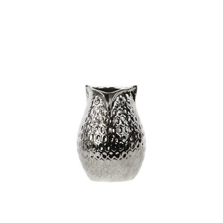 Chrome Silver Small Dimpled Ceramic Owl Vase