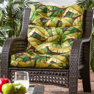 Outdoor High Back Chair Cushion, Palm Leaves