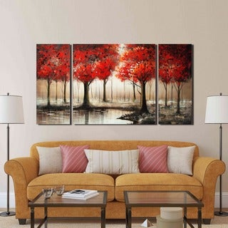 'Red Forest' 3-piece Hand-painted Gallery-wrapped Art Set