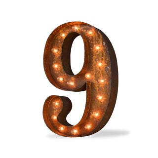Number Nine Rust-finish Iconic Marquee Sign