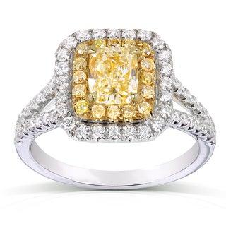 Annello 18k Two-tone Gold 1 3/4ct TDW AGA-certified Yellow Cushion-cut Halo Diamond Ring (VS1)