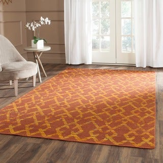 Safavieh Hand-Woven Straw Patch Rust/ Gold Wool/ Cotton Rug (8' x 10')