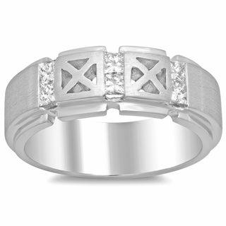 14k White Gold Men's 3/5ct TDW Diamond Ring (F-G, SI1-SI2)