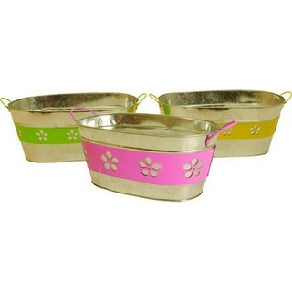 Assorted 13-inch Oblong Metal Flower Band Containers (Set of 3)