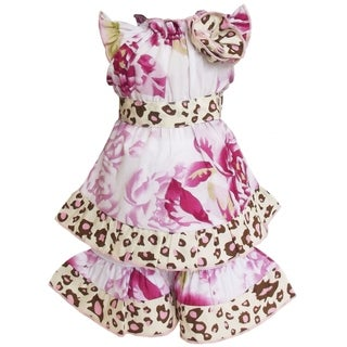 AnnLoren Boutique Shabby Floral/ Leopard Tunic and Capri 2-piece Doll Outfit