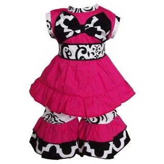 AnnLoren Hot Pink Tunic and Damask Capri 2-piece Doll Outfit