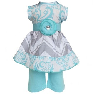 AnnLoren Boutique Blue Damask/ Grey Chevron Dress and Legging 2-piece Doll Outfit