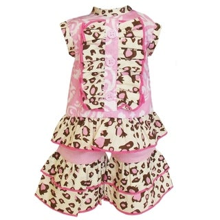 AnnLoren Pink Damask/ Leopard Tunic and Chevron Short Capri 2-piece Doll Outfit
