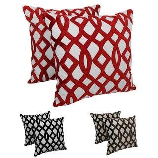 Blazing Needles 20-inch Indian Trellis Velvet Applique Throw Pillows (Set of 2)