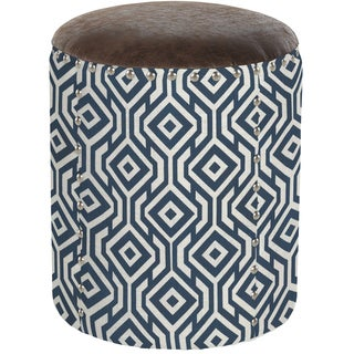 angelo:HOME Pearse Lorin Square Midnight Blue Round Drum Ottoman