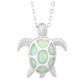 La Preciosa Sterling Silver White Opal Turtle Necklace