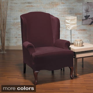 Eastwood Plush One Piece Stretch Wing Chair Slipcover