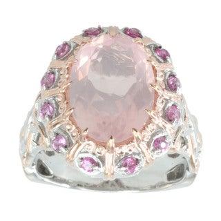 Michael Valitutti Palladium Silver Rose Quartz And Sapphire Ring