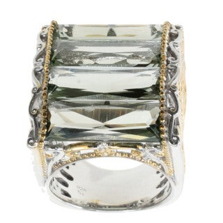 Michael Valitutti Palladium Silver Green Amethyst Ring