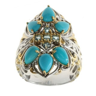 Michael Valitutti Sleeping Beauty Turquoise and Swiss Blue Topaz Ring