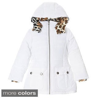 KC Collections Girl's (4-6X) White Puffer Jacket