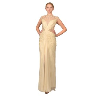 Tadashi Shoji Women's Cream Illusion Lace Beaded Evening Gown