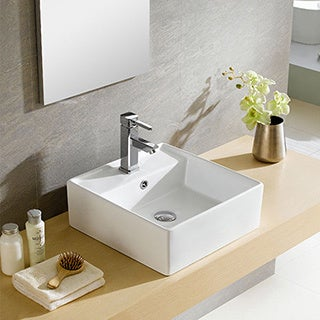 Somette Fine Fixtures Modern White Vitreous China Square Vessel Sink