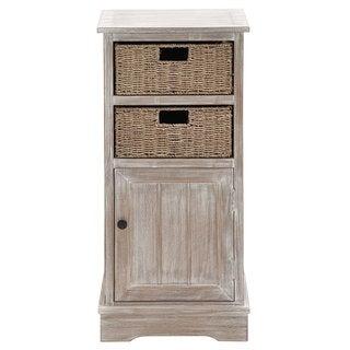 Wooden Light Brown 35-inch Basket Cabinet