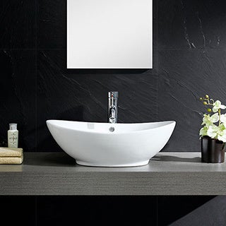 Somette Fine Fixtures White Vitreous China Oval Vessel Sink