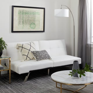 Abbyson Living Aspen Ivory Bonded Leather Convertible Sofa