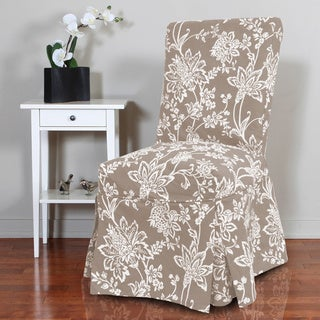 Verona 1-piece Floral Relaxed Fit Full-pleat Dining Chair Slipcover