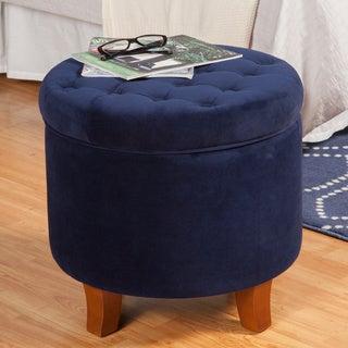 HomePop Button-tufted Large Round Storage Ottoman