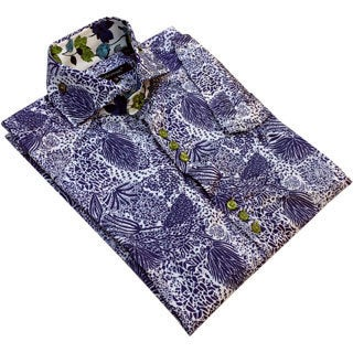 Bogosse Men's Blue Printed Short Sleeve Dress Shirt