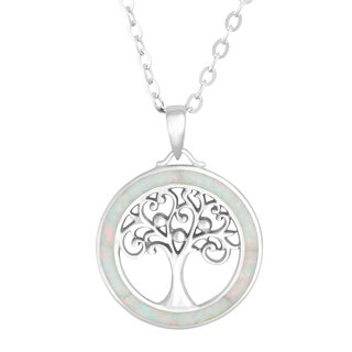 La Preciosa Sterling Silver White Opal Tree of Life Circle Pendant