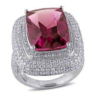 Miadora Signature Collection 14k White Gold Pink Tourmaline and 2 3/4ct TDW Diamond Ring (G-H, SI1-SI2)