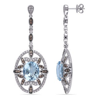 Miadora Signature Collection 14k White Gold Aquamarine Sapphire and 5/8ct TDW Brown Diamond Earrings (SI1-SI2)