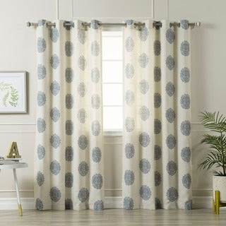 Medallion Printed Linen Blend Grommet Top 84-inch Curtain Panel Pair