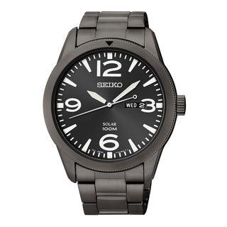 Seiko Men's 'Core' Black Stainless Steel Solar Powered Quartz Watch