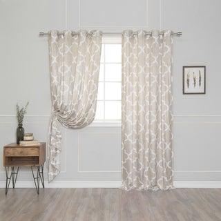 Velvet Moroccan Print Grommet Top 84-inch Curtain Panel Pair