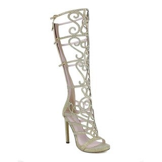 Celeste Women's Knee-high Rhinestone-encrusted Sandals