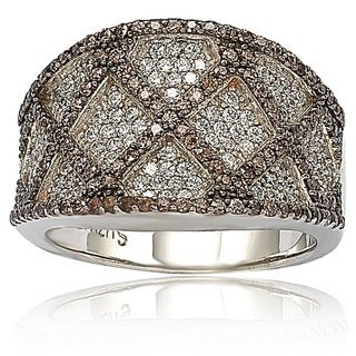 Suzy Levian Chocolate and White Cubic Zirconia Sterling Silver Ring