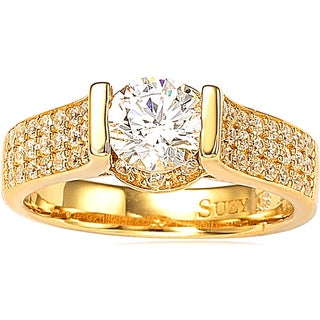 Suzy Levian Bridal 14k Gold over Silver Cubic Zirconia Ring